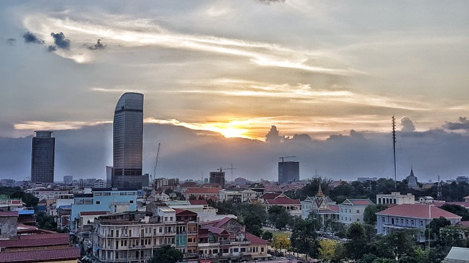 Sunset over Phnom Penh.